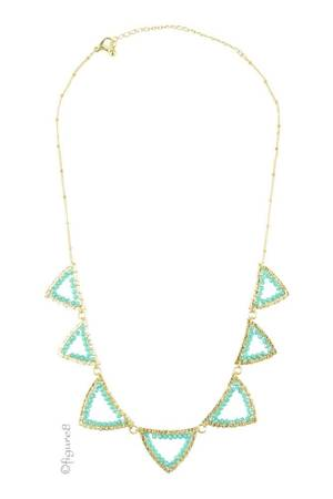 Pretty Triangle Necklace (Gold/Turquoise) by Jewelry Accessories