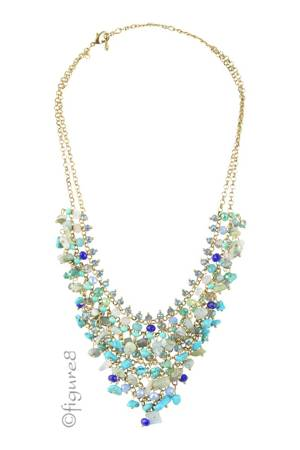 Divine Stone Necklace with Beaded Accents (Blue) by Jewelry Accessories