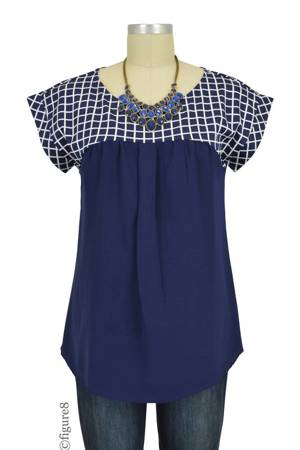 Beverly Windowpane Nursing Blouse (Navy) by Spring Maternity