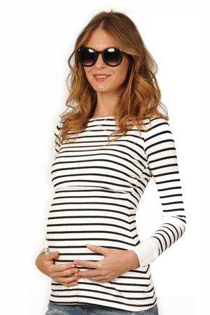 Peek-a-boo Long Sleeve Cuffed Nursing Top (Black and White Stripe) by Peek-a-boo