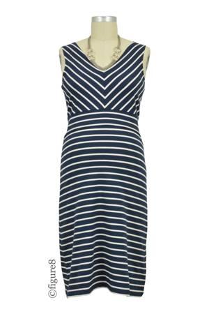 4736c89258aff Boob Design Simone Organic Diagonal Stripe Maternity & Nursing Dress (Stripe  Midnight Blue/Off