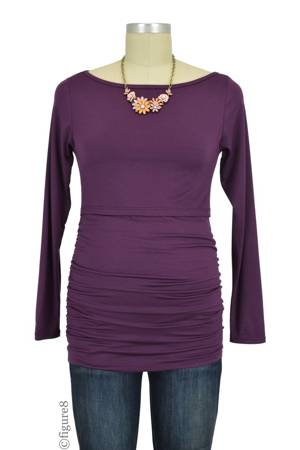 Baju Mama Audrey Long Sleeve Boatneck Nursing Top (Eggplant) by Baju Mama