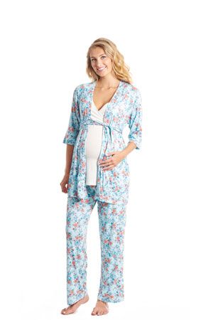 Suzie 5-pc. Nursing PJ Set with Gift Bag (Azure Mist) by Everly Grey