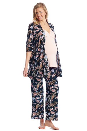 c940eaad05ab Susan 5-pc. Maternity   Nursing PJ Set with Gift Bag (Black Floral). Item   1905003. by Everly Grey