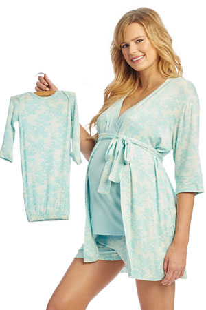 34bcf99329f1 Adalia 5-Pc Nursing PJ Short Set with Baby Gown   Gift Bag (Blue