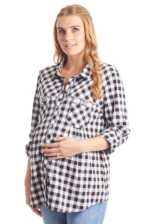 Bettina Plaid Maternity Shirt (Buffalo Black Plaid) by Everly Grey