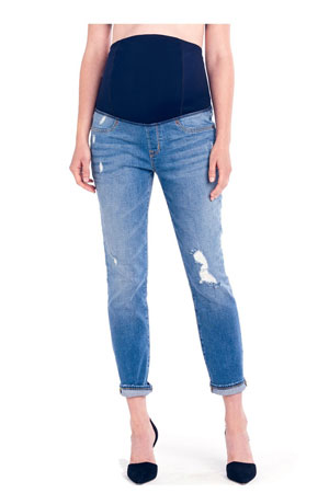 Mia Boyfriend Maternity Jeans by Ingrid & Isabel (Distressed Medium Wash) by Ingrid & Isabel