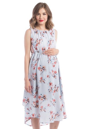 Adeline Grecian Maternity & Nursing Dress (Sky Floral Print) by Lilac Maternity & More