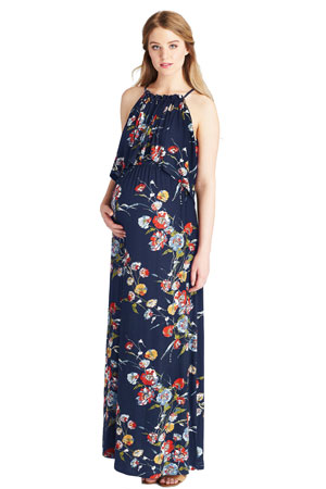 5172d0cdbd3 Davina Nursing Friendly Short Woven Romper (Black   Yellow Floral).  49.00.  Vivian Halter Maxi Maternity   Nursing Dress (Blue Botanical Print) by  Lilac ...