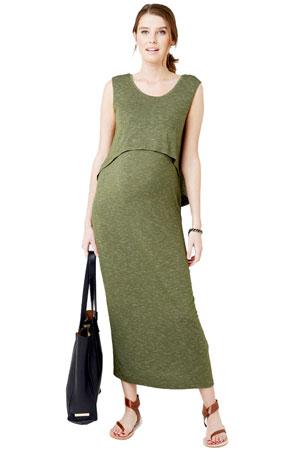 57f1fd60656 Charlie Swing Back Maternity & Nursing Maxi Dress (Kombi Green) by Ripe  Maternity