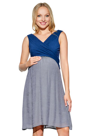 6b264a54a3490 Karina Overlap Crossover Baby Doll Maternity & Nursing Dress  (Navy/Charcoal) by Maternal