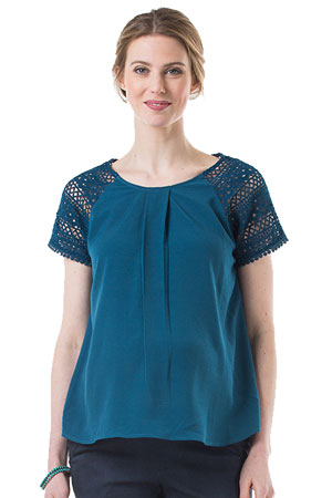 Clementina Crochet Lace Sleeve Nursing Top by Bove by Spring Maternity