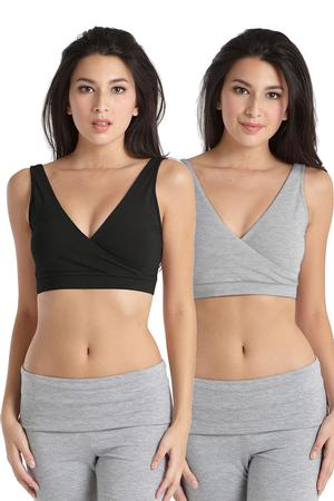 Cross-Front Cotton Sleep Bra by Mothers en Vogue - 2 Pack by Mothers en Vogue