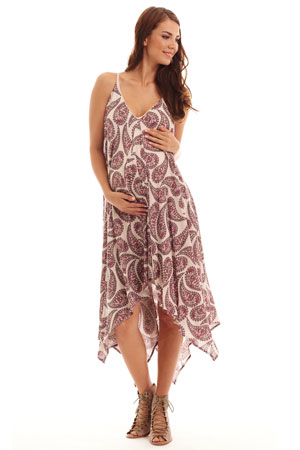 Brigit Paisley Maternity & Nursing Dress by Everly Grey
