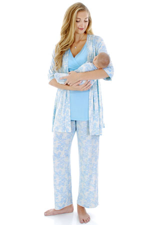 Analise 5-Piece Mom and Baby Maternity and Nursing PJ Set (Blue Chantilly) by Everly Grey
