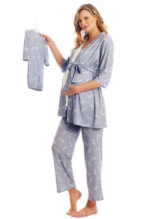 Analise 5-Piece Mom and Baby Maternity and Nursing PJ Set (Dream) by Everly Grey