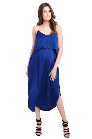 83d808c4e3de Maya Maternity   Nursing Woven Slip Midi Dress (Royal) by Ripe Maternity