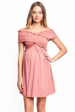 Criss Cross Off-the-Shoulder Maternity & Nursing Friendly Dress by Maternal America