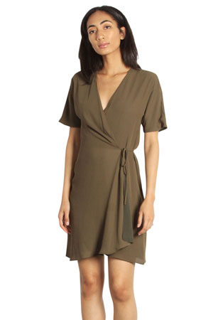a519493fb55 The Port Woven Nursing Friendly Wrap Dress (Olive) by Mod Ref Clothing