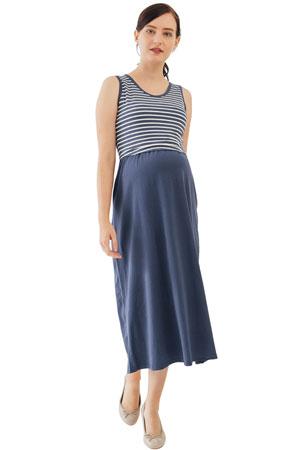 1ad938ab053e Alyssa Cotton Knit Maxi Nursing Dress (Navy Stripe) by Spring Maternity