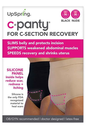 C-Panty High Waist C-Section Recovery Underwear - 2 Pack (Black & Nude) by UpSpring