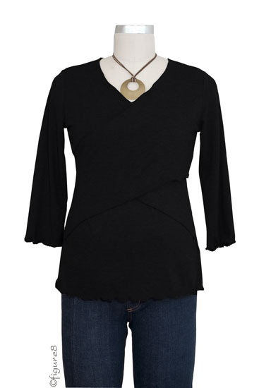 Flutter Cross Front Nursing Top (3/4 sleeve) (Black)
