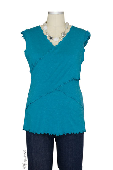 JW Flutter Cross Front Nursing Top (sleeveless) (Aquamarine)