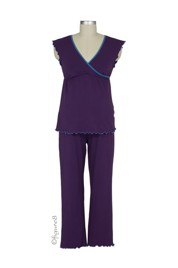 Wrap Nursing Top w/ Crop Pants (Purple/Teal Trim)