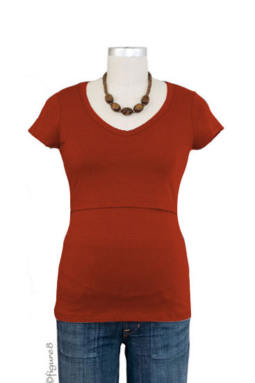 Momzelle Short Sleeve V-Neck Nursing Top (Rust)
