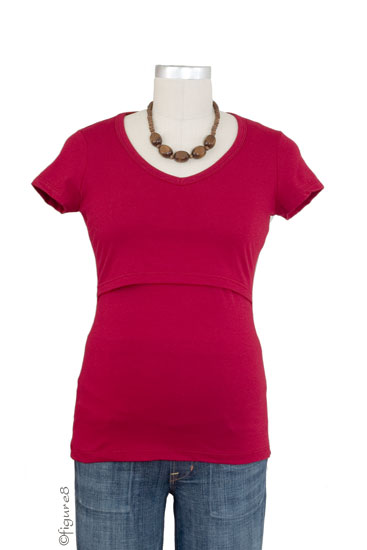 Momzelle Short Sleeve V-Neck Nursing Top (Red)