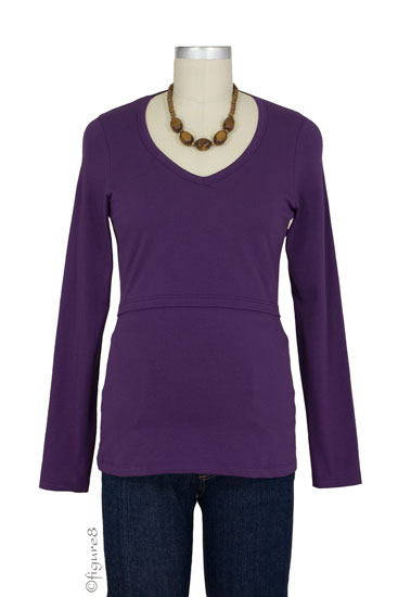 Momzelle Long Sleeve V-Neck Nursing Top (Plum)