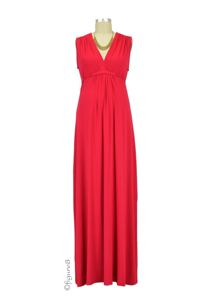Chiara Sleeveless Maxi Maternity Gown (Red)