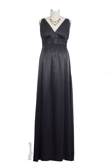 Ripe Deluxe Satin Evening Maternity Gown (Black)