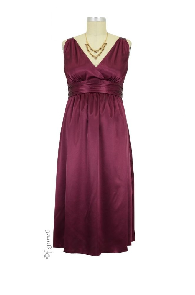 Ripe Deluxe Satin Maternity Evening Dress (Wine)