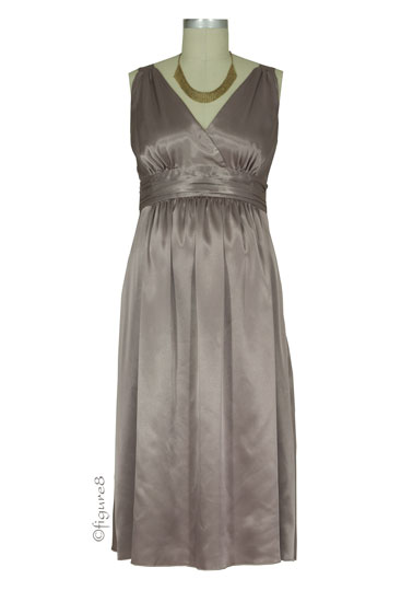 Ripe Deluxe Satin Maternity Evening Dress (Latte)