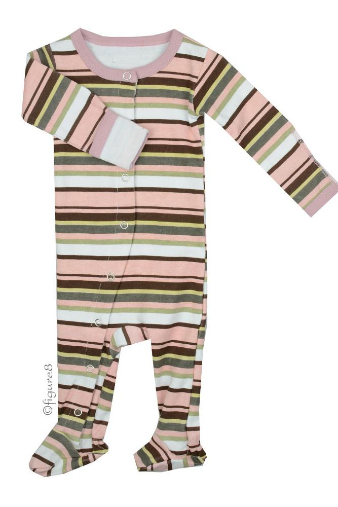 L'ovedbaby Gl'oved-Sleeve Baby Girl Overall (Warm Stripes)