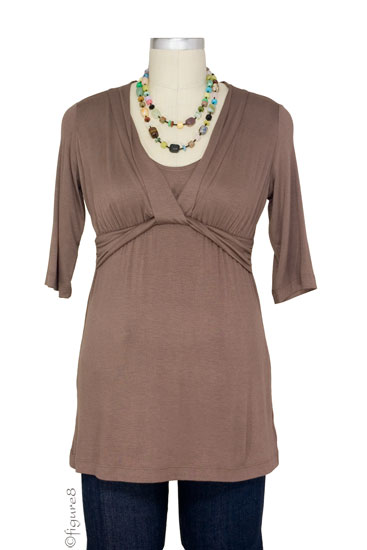 JW D&A Draped Neck Nursing Top (Mocha)