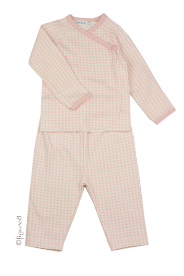Under the Nile Organic Side Snap Layette Set (Gingham Blush)