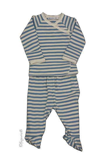 Under the Nile Organic Layette Set (Wide Blue Stripe)