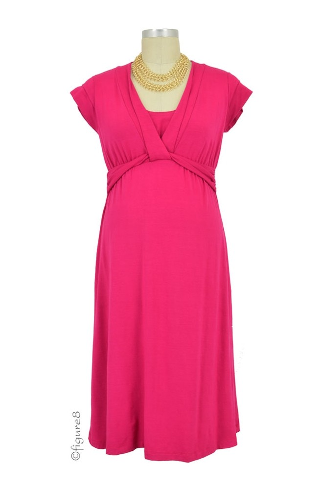 Vivian Bamboo Twist Front Nursing Dress (Berry)
