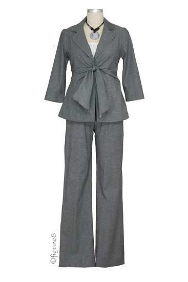 Audrey Front Tie 3-Pc Maternity Pant & Skirt Suit (Dark Heather Grey)