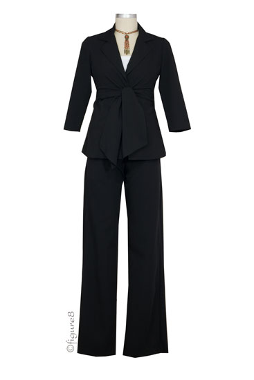 Audrey 3/4 Sleeve Front Tie Jacket & Slim Pant - 2-pc Suit Set (Black)