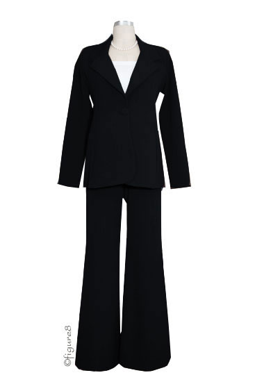 Wide-Leg 3-pc. Maternity Pant & Skirt Suit (Black)