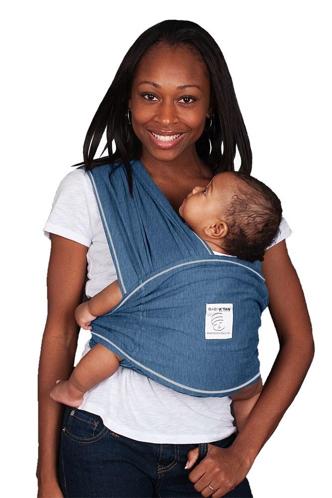 Baby K Tan Baby Carrier In Denim