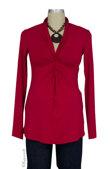 Lucy Twist Front Maternity Top (Red)