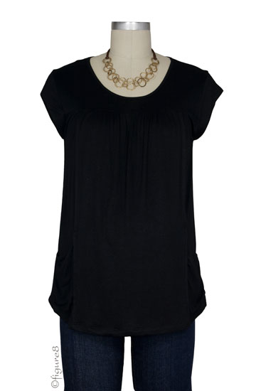 Fiona Pocket Nursing Top (Black)