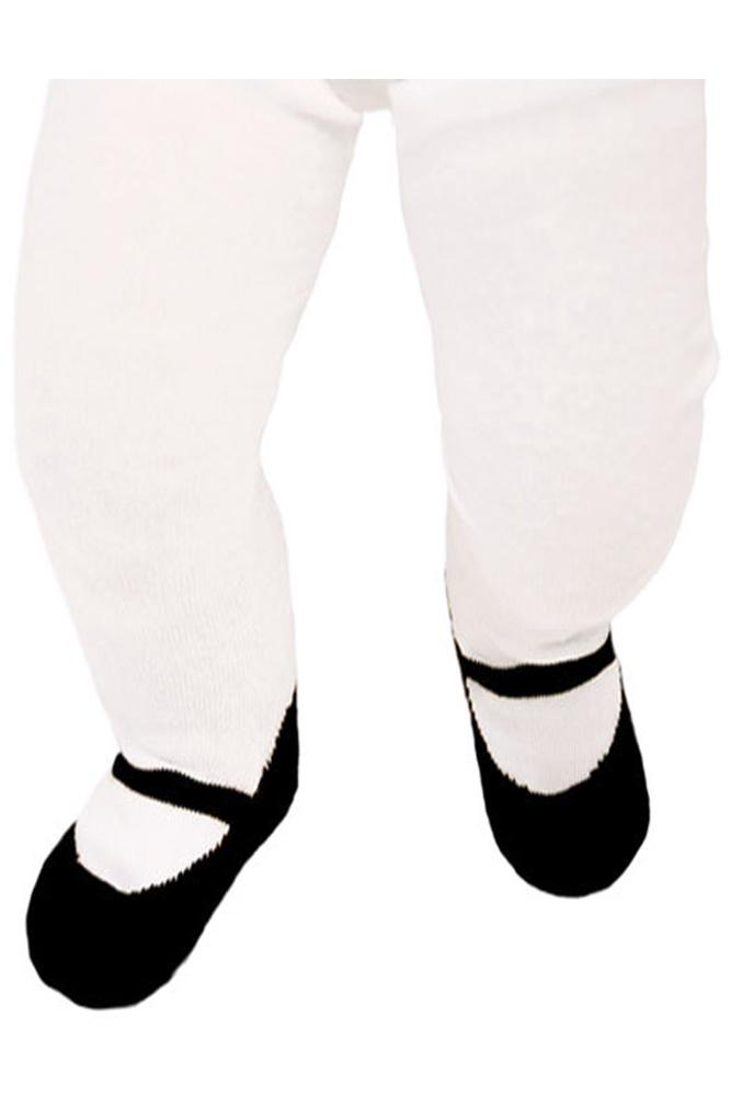 dc488ee248b5c Trumpette Maryjane Baby Tights in White/Black