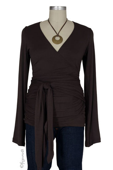The Bella Wrap Around Maternity Top (Brown)