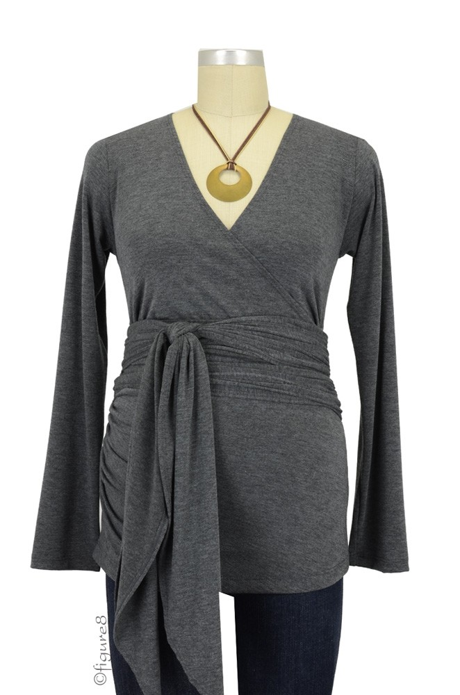 The Bella Wrap Around Maternity Top (Charcoal)