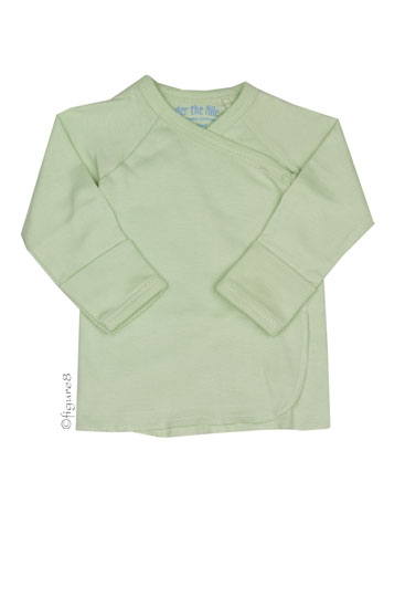 Long Sleeve Side Snap Organic Baby Undershirt (Sage)